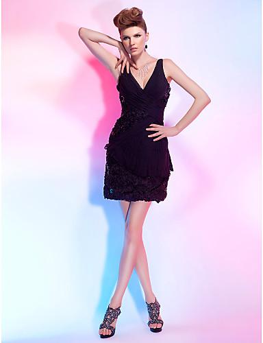 b76ca79a8d9d Ίσια Γραμμή Λαιμόκοψη V Κοντό   Μίνι Σιφόν   Δαντέλα Φόρεμα με Πούλιες    Δαντέλα   Πλαϊνό ντραπέ με TS Couture® 204263 2019 –  69.99