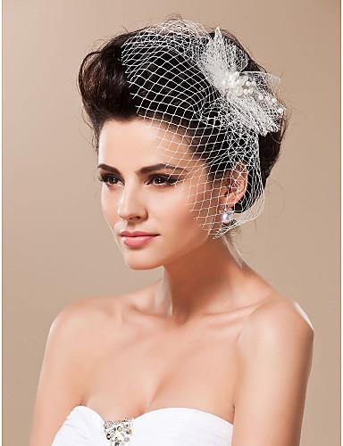 cheap Wedding Veils-One-tier Cut Edge Wedding Veil Blusher Veils / Birdcage Veils with Tulle
