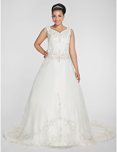 cheap Wedding Dresses-Ball Gown V Neck Court Train Organza / Beaded Lace Regular Straps Formal Plus Size Wedding Dresses with Beading / Embroidery 2020