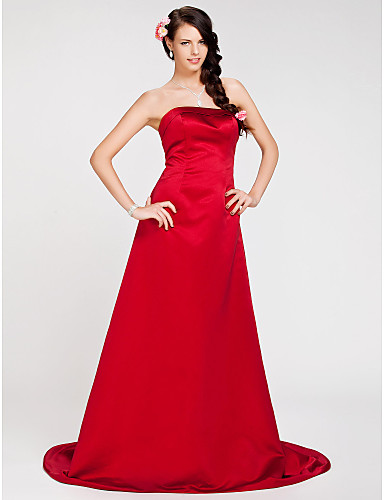 cheap Bridesmaid Dresses-Princess / A-Line Strapless Sweep / Brush Train Satin Bridesmaid Dress with