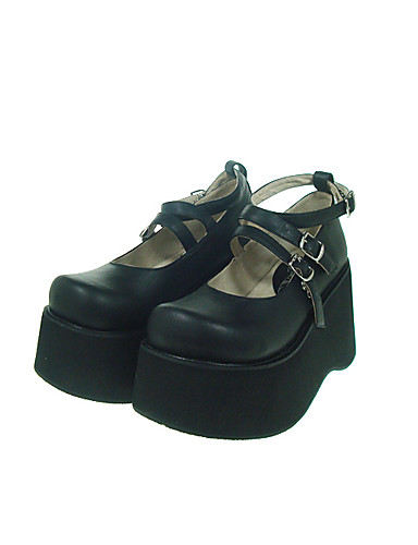 halpa Lolita-muoti-Naisten Kengät Gothic Lolita Korokekengät Kengät Yhtenäinen 10 cm PU Leather / Polyurethane Leather Polyurateeninahka Halloween-puvut