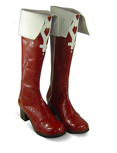 preiswerte Anime-Cosplay-Schuhe-Cosplay Stiefel Mahou Shoujo Madoka Magica Kyoko Sakura Anime Cosplay Schuhe PU-Leder Damen Halloween Kostüme