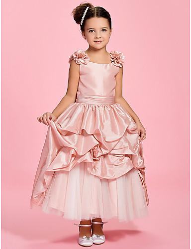 A-Line Ankle Length Flower Girl Dress - Taffeta Sleeveless Bateau Neck Pick Skirt / Sash / Ribbon / Ruched LAN TING BRIDE® / Spring / Summer / Fall / First Communion / Wedding Party