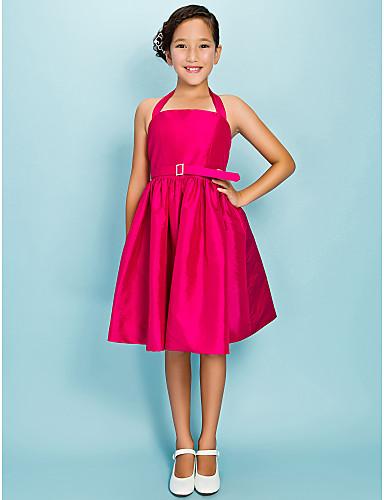 Ball Gown / Princess Halter Neck Knee Length Taffeta Junior Bridesmaid Dress Draping / Sash / Ribbon / Crystal Brooch LAN TING BRIDE® / Spring / Summer / Fall / Apple / Hourglass