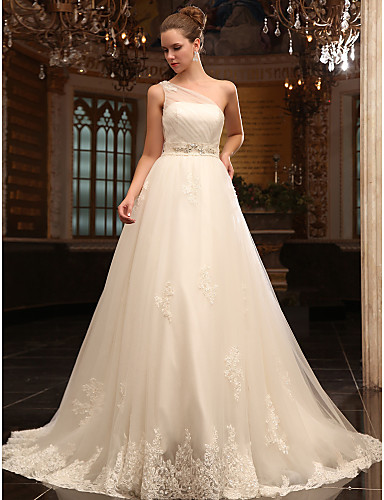 cheap Wedding Dresses-Princess A-Line Wedding Dresses One Shoulder Court Train Satin Tulle Sleeveless with 2020