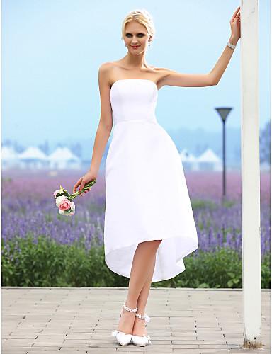 billige Brudekjoler til under 1941 kr-A-linje Stroppeløs Asymmetrisk Taft Made-To-Measure Brudekjoler med av LAN TING BRIDE® / Små Hvite Kjoler