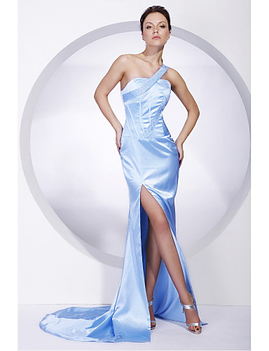 cheap Special Occasion Dresses-Mermaid / Trumpet All Celebrity Styles Inspired by Cannes Film Festival Formal Evening Military Ball Dress One Shoulder Sleeveless Sweep / Brush Train Charmeuse with Beading Split Front 2020