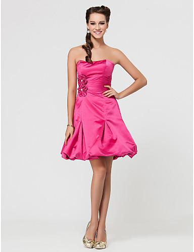 a-line αγαπημένη στράπλες σύντομο   μίνι φόρεμα παράνυμφων σατέν με draping  πλευρά 438452 2019 –  99.99 c409c09e158
