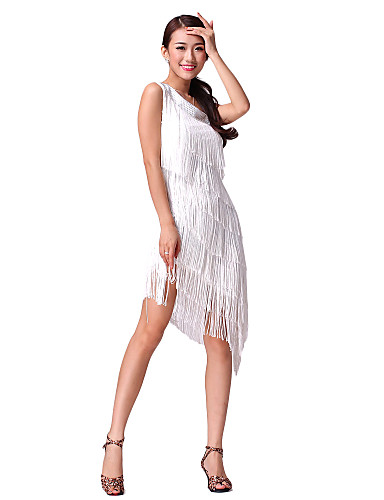 cheap Latin Dancewear-Latin Dance Dress Tassel Crystals / Rhinestones Women's Performance Sleeveless Natural Cotton Polyester
