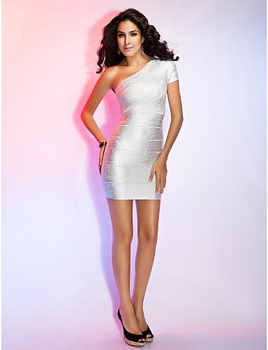 f3e8425c1373 θήκη   στήλη ένα ώμο κοντό μανίκι σύντομο   μίνι φόρεμα επίδεσμος 421338  2019 –  39.99