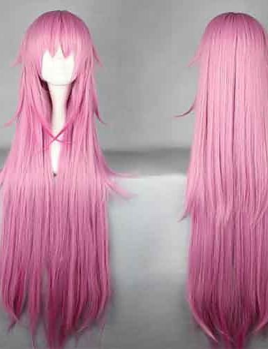 povoljno Anime cosplay-K Neko Cosplay Wigs Žene 44 inch Otporna na toplinu vlakna Pink Anime