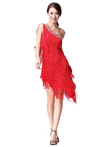 preiswerte Tanzkleidung-Latein-Tanz Kleider Damen Leistung Baumwolle / Polyester Quaste / Kristalle / Strass Ärmellos Normal Kleid / Latintanz / Aufführung