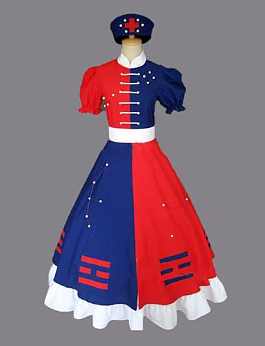 povoljno Maske i kostimi-Inspirirana Touhou projekt Eirin Yagokoro Video igra Cosplay nošnje Cosplay Suits / Dresses Color block Kratkih rukava Haljina Pojas Šešir Kostimi