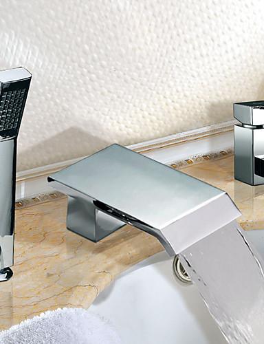 preiswerte Romanische Wanne-Badewannenarmaturen - Moderne Chrom Romanische Wanne Keramisches Ventil / Zwei Griffe Drei Löcher