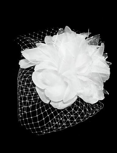 billige Festartikler-Tyll / Satin fascinators / blomster / Hodeplagg med Blomster 1pc Spesiell Leilighet Hodeplagg