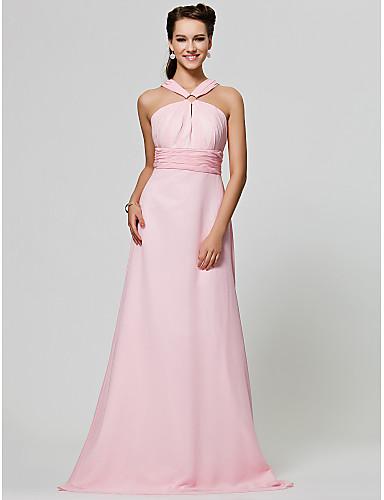 cheap Bridesmaid Dresses-Princess / A-Line Straps Floor Length Chiffon Bridesmaid Dress with Ruched / Draping