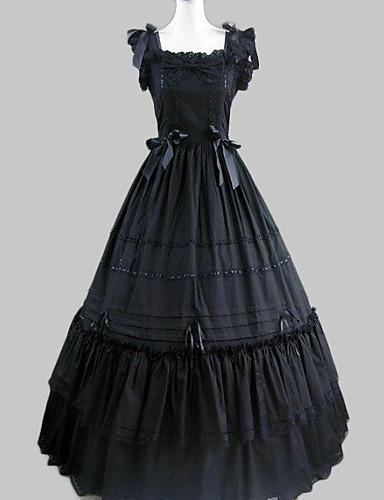 cheap Lolita Dresses-Princess Gothic Lolita Ruffle Dress Dress Women's Girls' Satin Cotton Japanese Cosplay Costumes Black Vintage Cap Sleeve Long Length / Gothic Lolita Dress