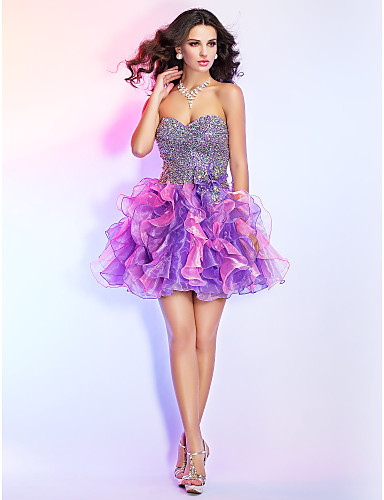cheap Prom Dresses-Ball Gown Sparkle & Shine Open Back Homecoming Cocktail Party Prom Dress Strapless Sweetheart Neckline Sleeveless Short / Mini Organza with Bow(s) Beading Sequin 2020