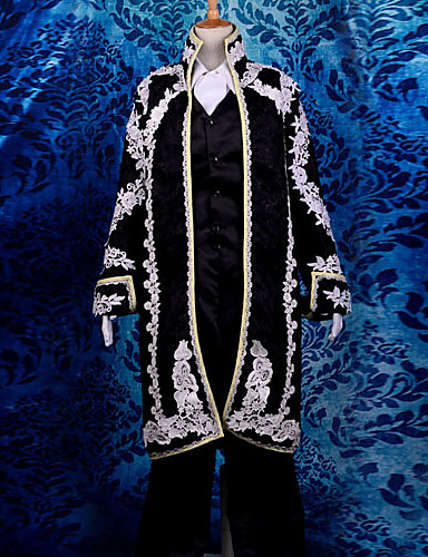 povoljno Maske i kostimi-Inspirirana Vocaloid KAITO Video igra Cosplay nošnje Cosplay Suits Žakard Dugih rukava Kravata Kaput Mellény Kostimi / Saten