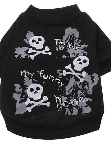 preiswerte Haustierzubehör-Hund T-shirt Hundekleidung Schwarz Kostüm Baumwolle Totenkopf Motiv Modisch Halloween XS S M L XL XXL