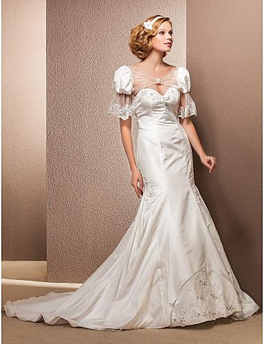 cheap Wedding Dresses-Mermaid / Trumpet Wedding Dresses Sweetheart Neckline Court Train Taffeta Sleeveless with 2020 / Yes