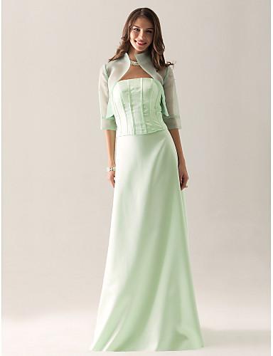 ราคาถูก Bridesmaid Dresses-ชีท / คอลัมน์ ไร้สาย ลากพื้น ออแกนซ่า / ซาติน เพื่อนเจ้าสาวชุด กับ จีบ โดย LAN TING BRIDE® / มีผ้าคลุม