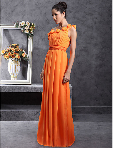 cheap Bridesmaid Dresses-Sheath / Column One Shoulder Floor Length Chiffon Bridesmaid Dress with Pleats / Draping / Flower