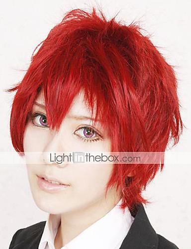 povoljno Maske i kostimi-Naruto Sasori Cosplay Wigs Muškarci 12 inch Otporna na toplinu vlakna Crvena Anime