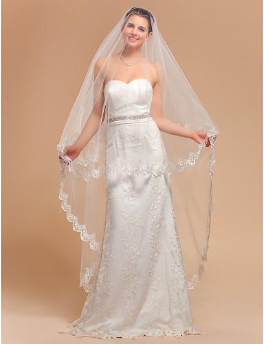 66eaaf226 Una elegante niveles Waltz Velo de novia con encaje apliques borde 532772  2019 –  29.99