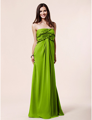 cheap Bridesmaid Dresses-Sheath / Column Strapless Floor Length Chiffon Bridesmaid Dress with Ruched / Ruffles / Draping