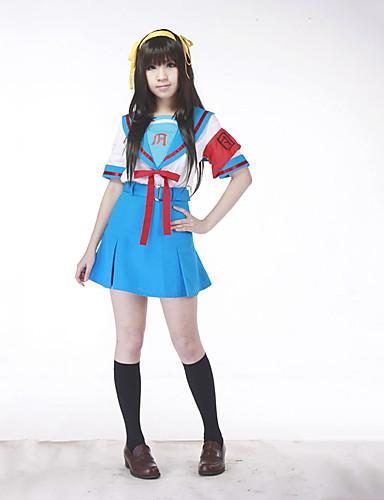 povoljno Maske i kostimi-Inspirirana Suzumiya Haruhi Haruhi Suzumiya Anime Cosplay nošnje Japanski Cosplay Suits / School Uniforms Kolaž Kratkih rukava Top / Suknja / Pojas Za Žene