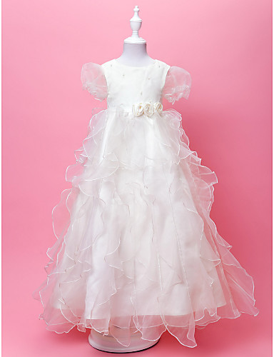 747eca0fa A-Line / Princess Floor Length Flower Girl Dress - Organza / Satin Short  Sleeve Jewel Neck with Pearls / Cascading Ruffles / Flower by / Spring /  Fall ...
