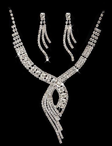preiswerte Schmuck Ausverkauf-hohe Qualität tschechisch Strass mit Alu beschichtet Hochzeit Halskette und Ohrringe Schmuck-Set