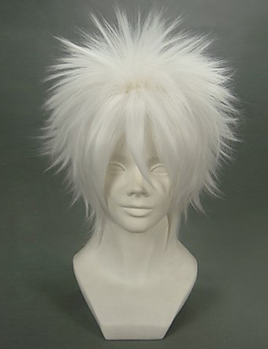 levne Cosplay paruky-Reborn! Byakuran Cosplay Paruky Pánské 12 inch Horkuvzdorné vlákno Stříbrná Anime