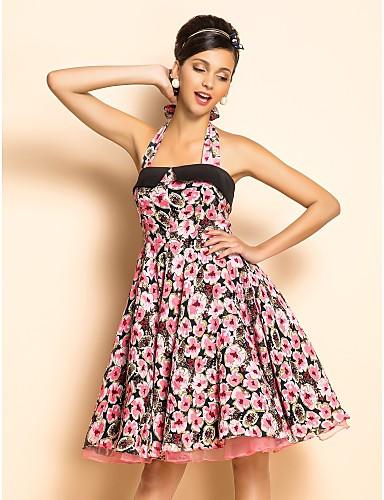 3201116819f9 ts εκλεκτής rockabilly κορίτσι χλωρίδα εκτύπωση swing φόρεμα halter 543074  2019 –  51.99
