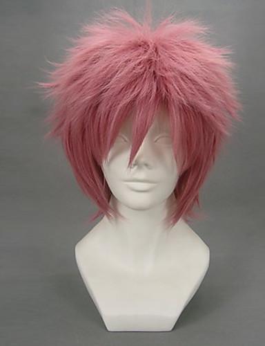 povoljno Anime cosplay-Fairy Tail Natsu Dragneel Cosplay Wigs Muškarci 12 inch Otporna na toplinu vlakna Crvena Anime