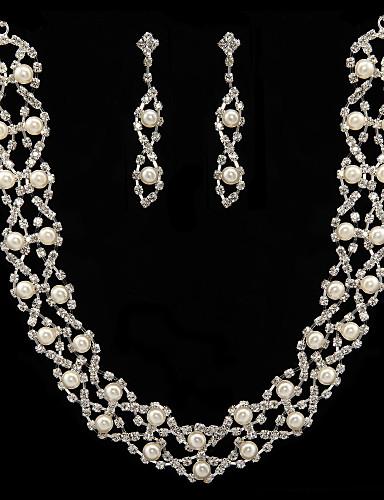 preiswerte Schmuck Ausverkauf-Damen Weiß Perlen Schmuckset Stilvoll Ohrringe Schmuck Für Hochzeit Party Jahrestag Geburtstag Verlobung Geschenk / Alltag