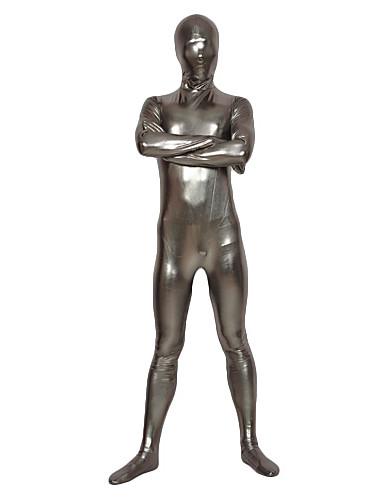 billige Zentai-Skinnende Zentai Drakter Huddrag heldekkende drakter Ninja Barne Voksne Lasteks Cosplay-kostymer Kjønn Herre Dame Sølv Ensfarget Halloween Karneval / Høy Elastisitet