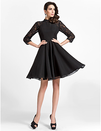 cheap Cocktail Dresses-Back To School A-Line Fit & Flare Little Black Dress Cute Vintage Inspired Holiday Homecoming Cocktail Party Dress High Neck 3/4 Length Sleeve Knee Length Chiffon Lace with Beading Draping 2020 Hoco D