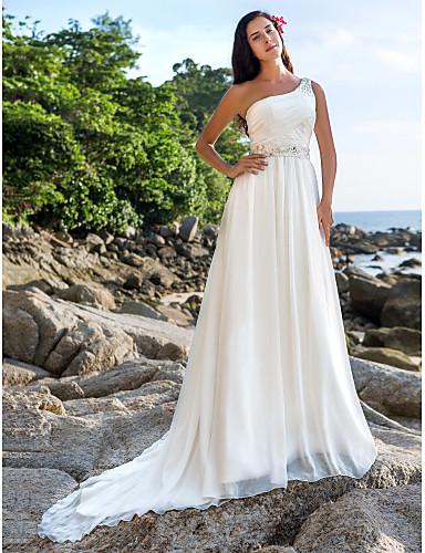 cheap Wedding Dresses-A-Line One Shoulder Court Train Chiffon Regular Straps Beach Sparkle & Shine Wedding Dresses with Sash / Ribbon / Beading / Button 2020