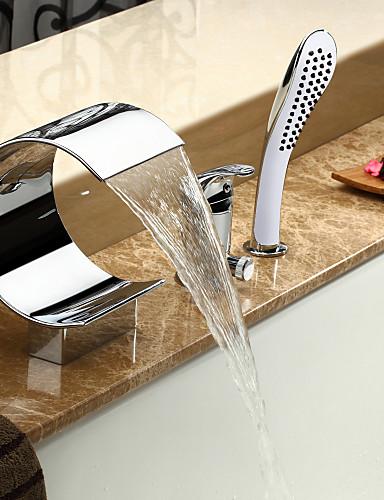 preiswerte Romanische Wanne-Badewannenarmaturen - Moderne Chrom Romanische Wanne Keramisches Ventil Bath Shower Mixer Taps / Einhand Drei Löcher