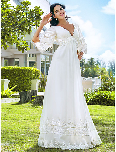 cheap Wedding Dresses-A-Line V Neck Floor Length Chiffon 3/4 Length Sleeve See-Through / Backless Wedding Dresses with Beading 2020 / Illusion Sleeve