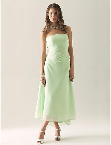 cheap Bridesmaid Dresses-Sheath / Column Strapless Asymmetrical / Tea Length Chiffon Bridesmaid Dress with Ruched / Ruffles