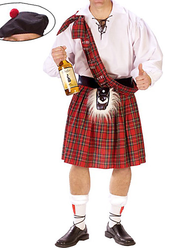 povoljno Maske i kostimi-škotski Cosplay Nošnje Kostim za party Muškarci Halloween Karneval New Year Festival / Praznik Polyurethane Leather Terilen Red / White Karneval kostime Karirani uzorak