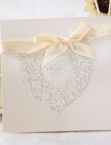 """preiswerte Spezial Angebote-Oberseite gefaltet Hochzeits-Einladungen 50 - Einladungskarten Klassicher Stil / Geblühmter Style Perlenpapier 6""""×6"""" (15*15cm)"""