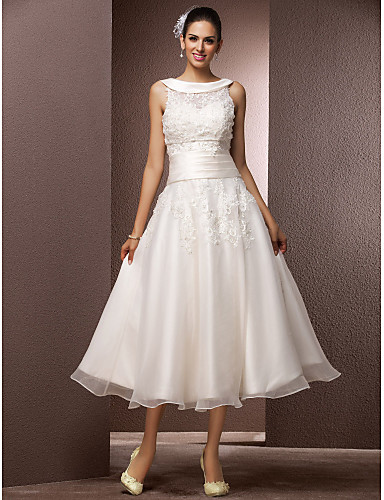 cheap Wedding Dresses Under $200-A-Line Bateau Neck Tea Length Organza / Floral Lace Made-To-Measure Wedding Dresses with Beading / Pearl / Appliques by LAN TING BRIDE® / Little White Dress / Yes / Little White Dress