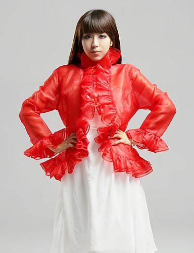 cheap Wedding Wraps-Wedding / Party/Evening / Casual Organza Coats/Jackets 3/4-Length Sleeve Wedding  Wraps