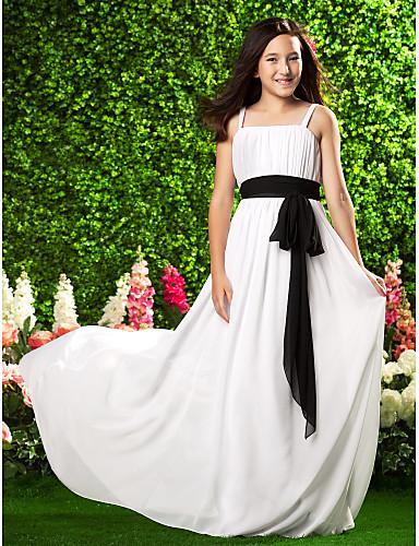 3735b24fc95f Sheath / Column Spaghetti Strap Sweep / Brush Train Chiffon Junior Bridesmaid  Dress with Bow(
