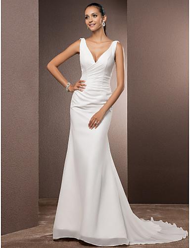 cheap Wedding Dresses-Sheath / Column V Neck Court Train Chiffon Over Satin Regular Straps Vintage Backless / Elegant Wedding Dresses with Side-Draped 2020