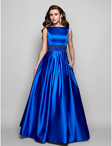 cheap Evening Dresses-A-Line Elegant Blue Prom Formal Evening Dress Boat Neck Sleeveless Floor Length Satin with Pleats Beading 2020